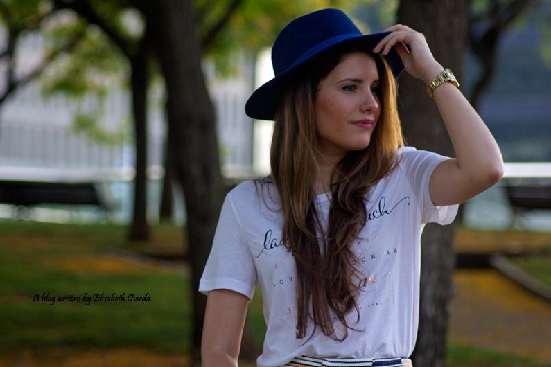 shorts stradivarius sombrero clutch azul  (1)