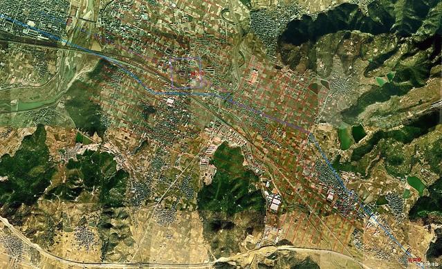 佐突駅から西の条里余剰帯_1974年航空写真