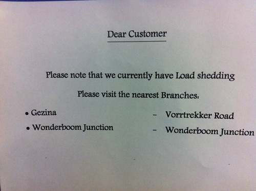 Load shedding disrupts the bank