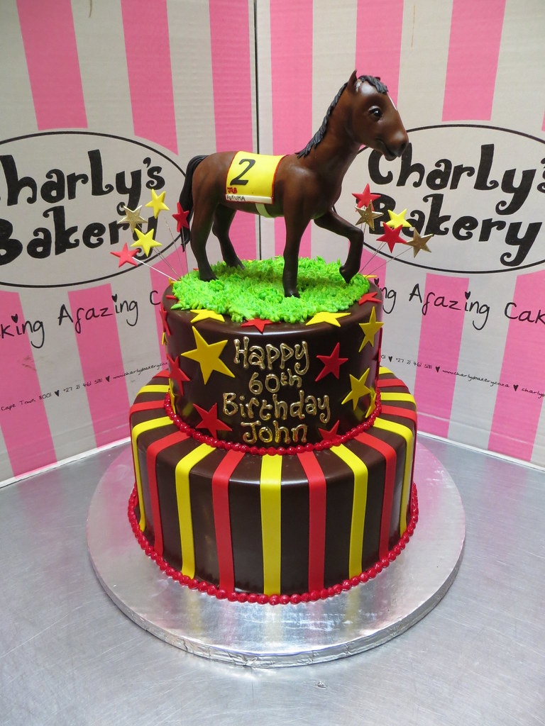 2 Tier 60th Birthday Cake With 3D Polo Horse Figurine Topper Stripes Stars