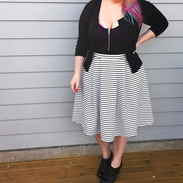 My life has mostly been about trying to get my bra to stay under my shirt. Wearing Yours Clothing UK textured stripe skirt, City Chic beaded cardigan, Boohoo Plus zip front bodysuit and Payless shoes.