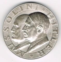 1938 Third Reich Hitler-Mussolini Medal obverse