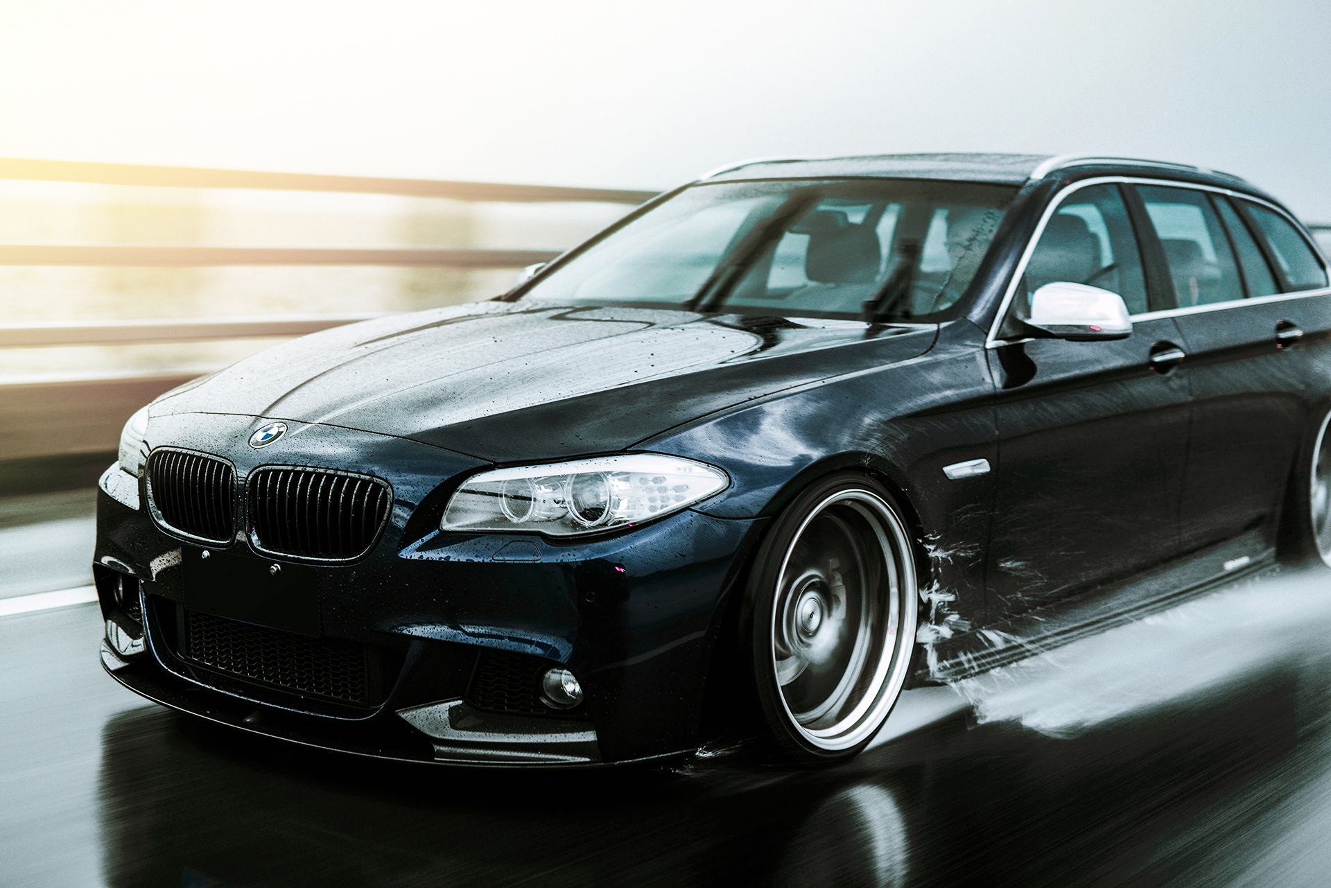 rolling shots in the rain of bmw f11 touring. Black Bedroom Furniture Sets. Home Design Ideas