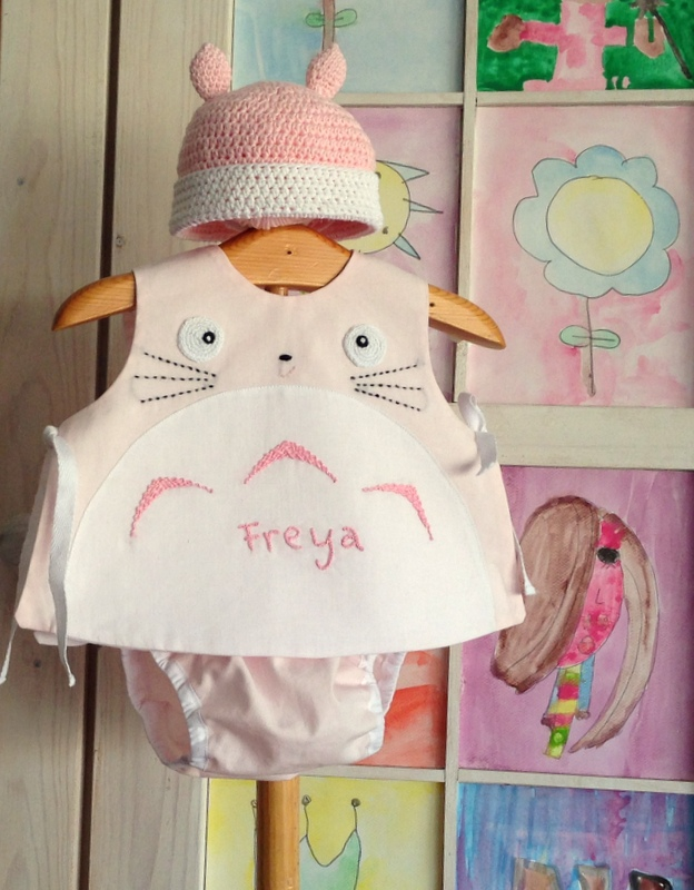 pink totoro top, diaper cover and hat