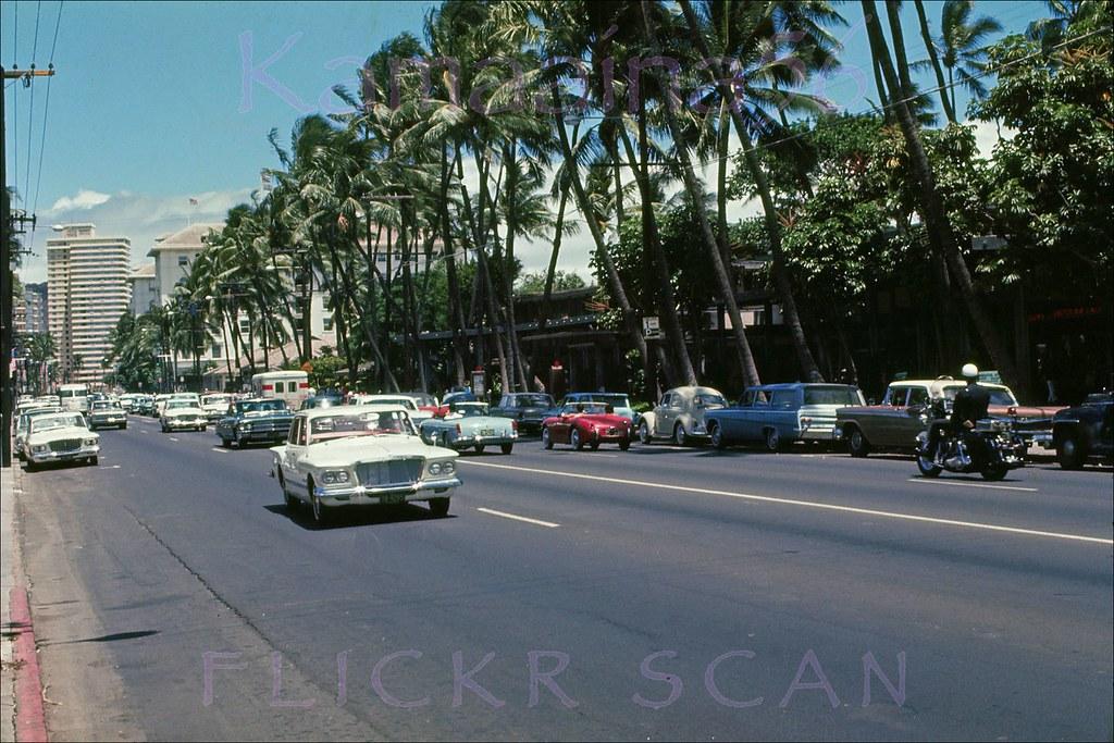 Kalakaua Ave 2 Way Traffic 1963 Looking East Along