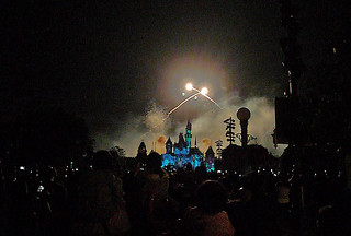 Disneyland Hongkong - Sleeping Beauty castle fireworks begin