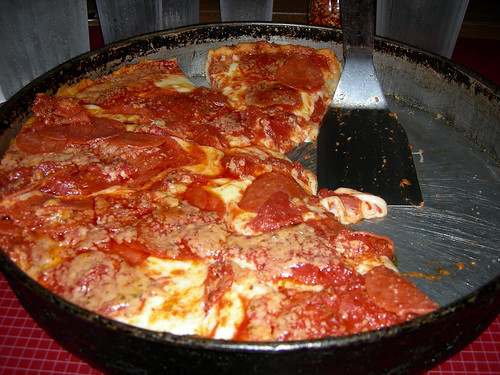 Large Pepperoni Deep Dish Chicago style pizza!   This was a ...