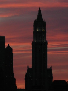 sunset behind the woolworth building | by cjkershner