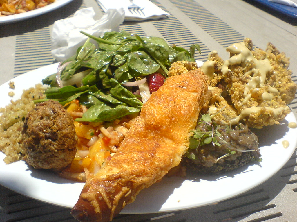 Cafeteria Food Pans ~ Delish lunch outside in the sun taken at pm on