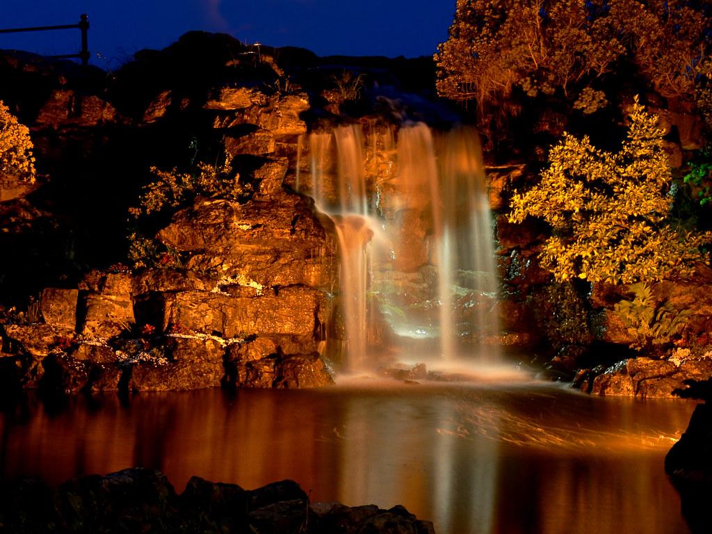 waterfall by night