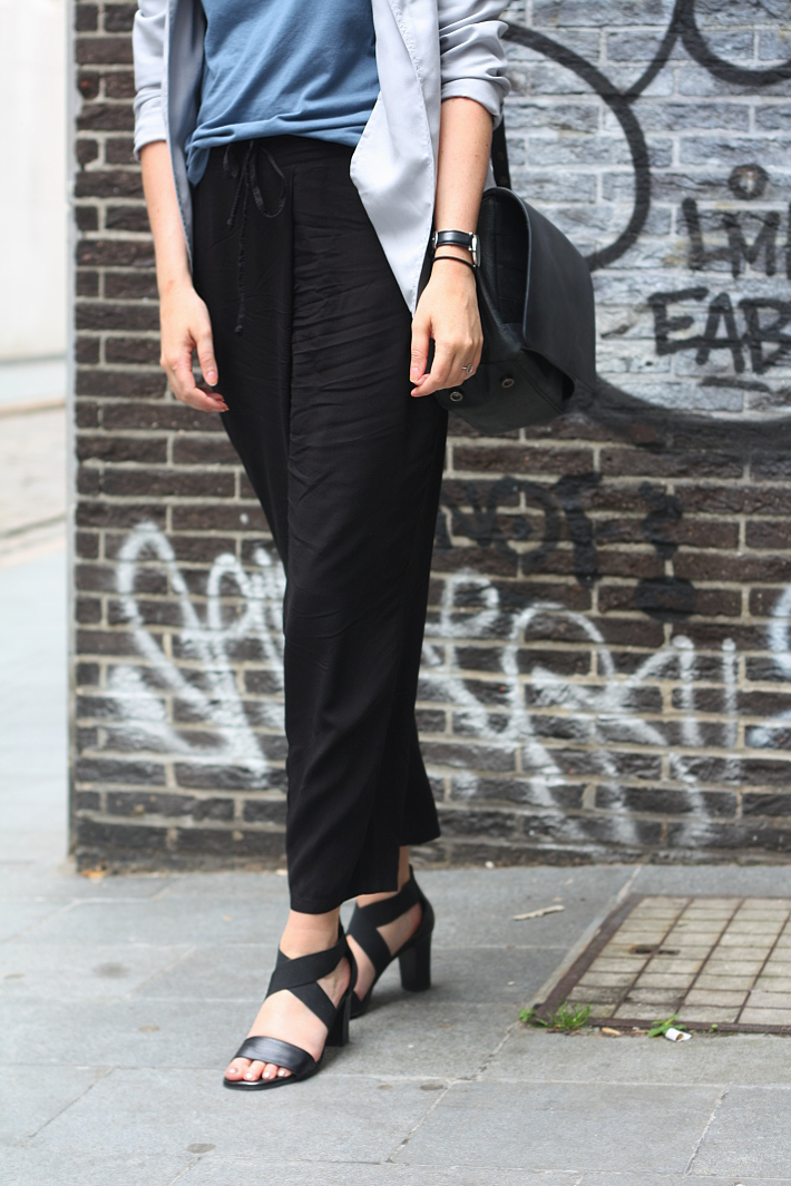 outfit: relaxed professional in cropped trousers and heeled sandals