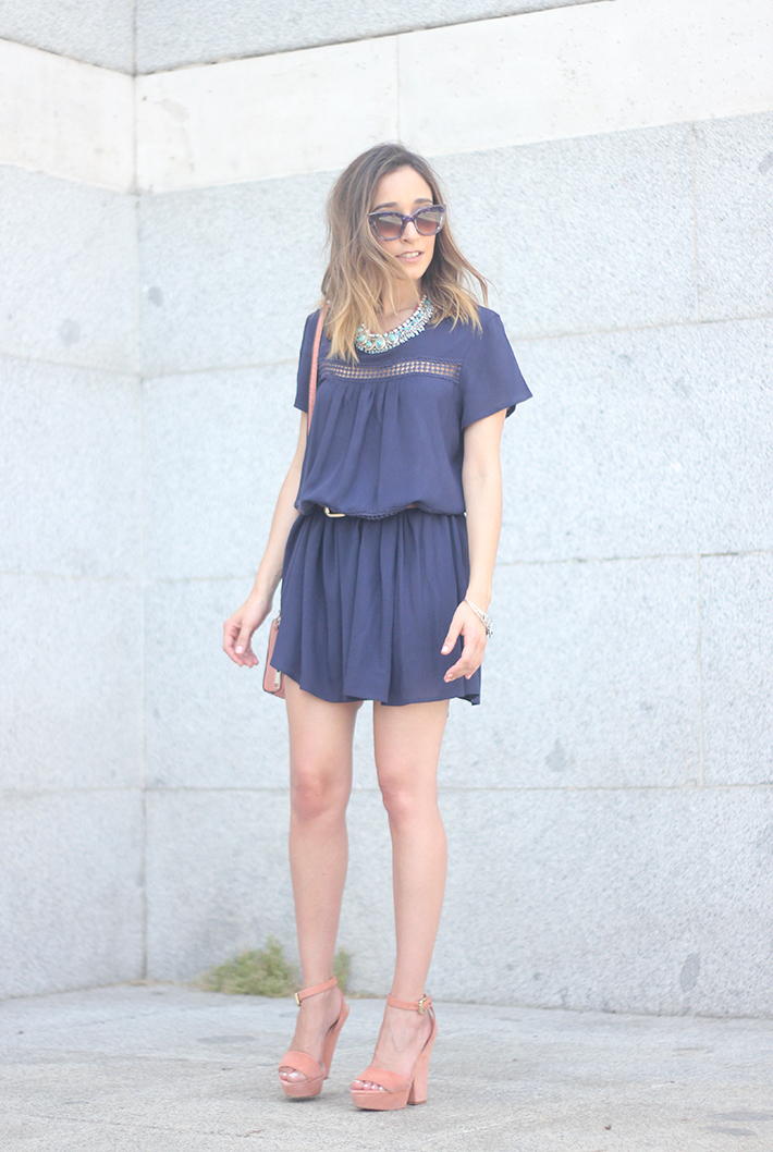 Blue dress Sheinside Wedges summer outfit06