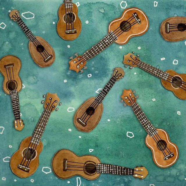 "Did you know that Ukulele rhymes with ""at""? When I read that the theme for yesterday's #patternJanuary was ""Rhymes with at"" I immediately thought of Matt. I got him a ukulele for Christmas and he's been playing it daily, so ukulele was a natural subject m"