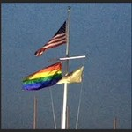 Rainbow flag over New Jersey