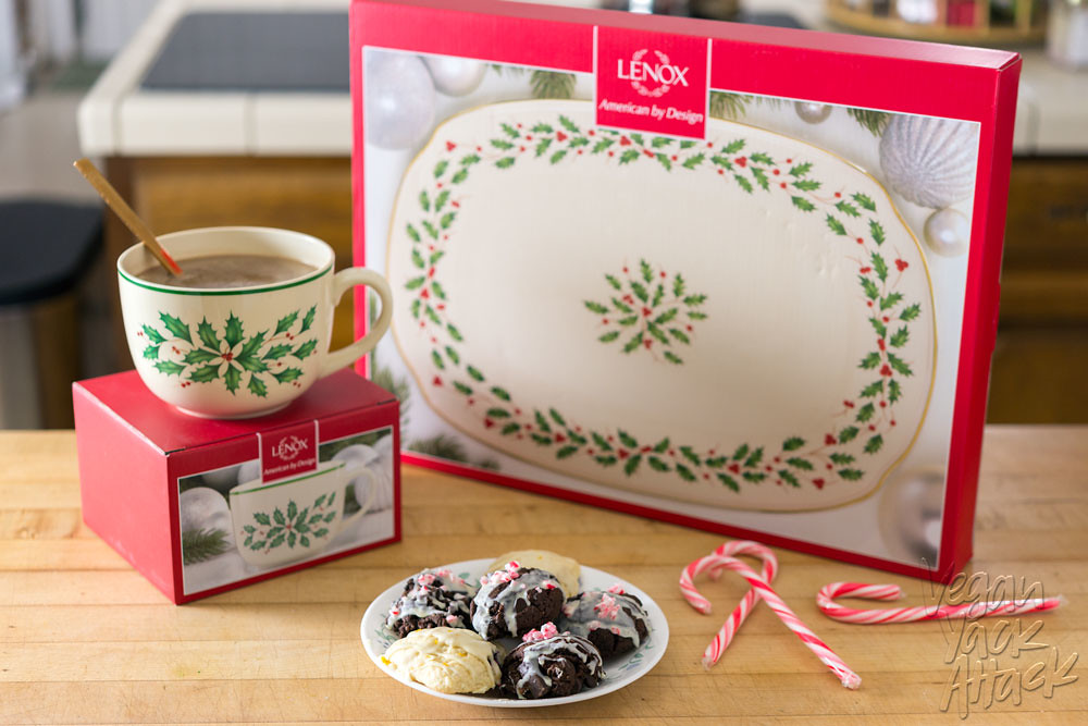 Double Chocolate Peppermint Cookies - Rich treats filled with chunks of peppermint and drizzled with vegan white chocolate. Served on a beautiful Lenox platter with hot cocoa! #nutfree #lenoxusa