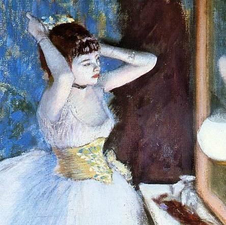 Degas, Danseuse dans sa loge, détail