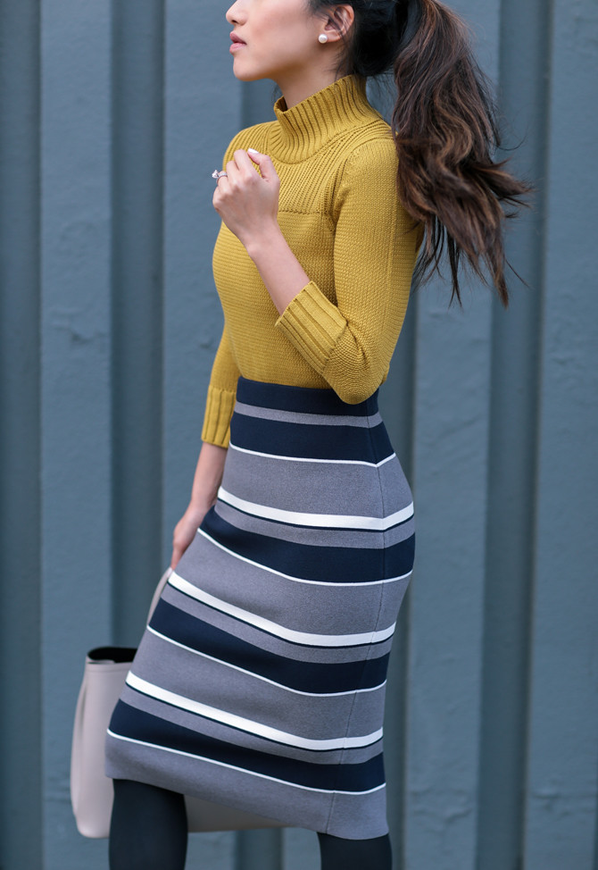 mustard sweater striped skirt ann taylor petites
