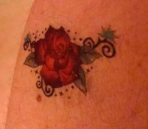 I got this temporary rose tattoo at the #marylandfaeriefestival