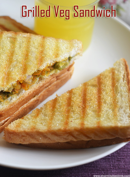 Veg Grilled Sandwich Recipe