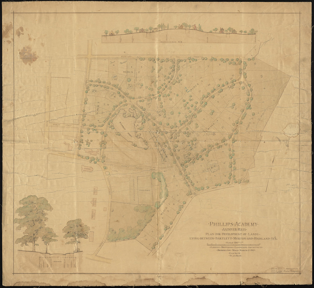 Campus Map By Olmsted Brothers 1912 Phillips Academy Archives And