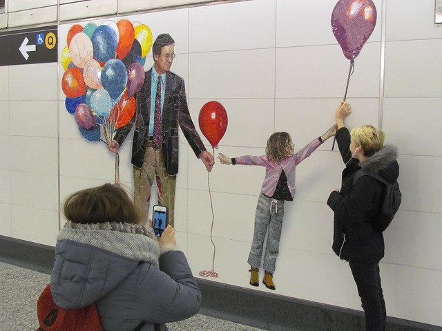 Straphangers at 72nd St. have been enjoying the art at the new stations. (Photo by Benjamin Kabak)