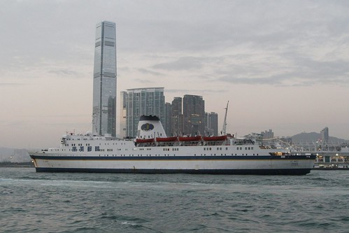 Casino ship 'Jimei' steams slowly west through Victoria Harbour