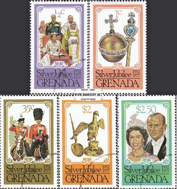 Známky Grenada 1977 Strieborné jubileum, razítkovaná séria