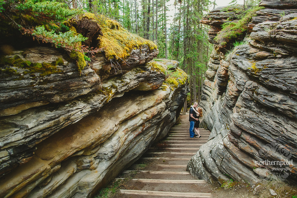 Athabasca Falls Jasper Engagement Session Elopement