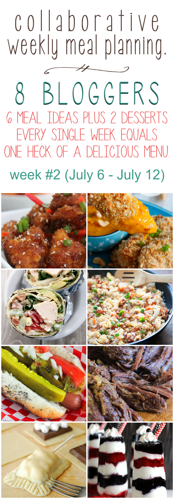 Collaborative weekly meal planning. 8 bloggers. 6 meal ideas plus 2 desserts every single week equals one heck of a delicious menu! Week 2