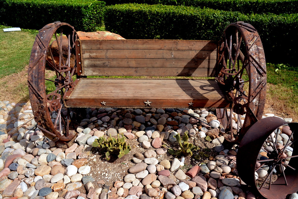 wagon wheel from reclaimed unique teak handmade bench