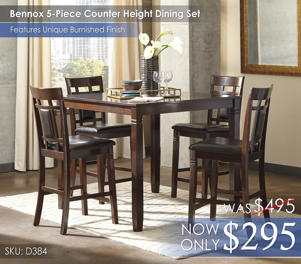 Bennox 5-Piece Counter Height Dining Set D384-223-R400122