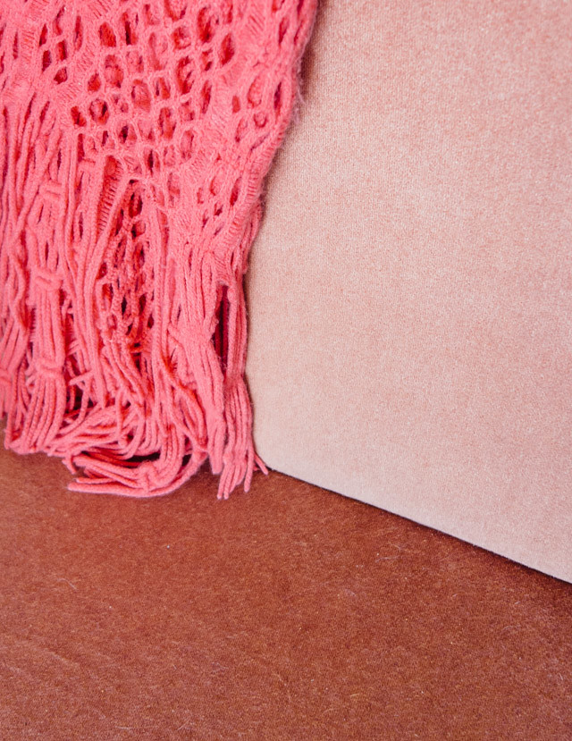 close up of pink chair and shawl