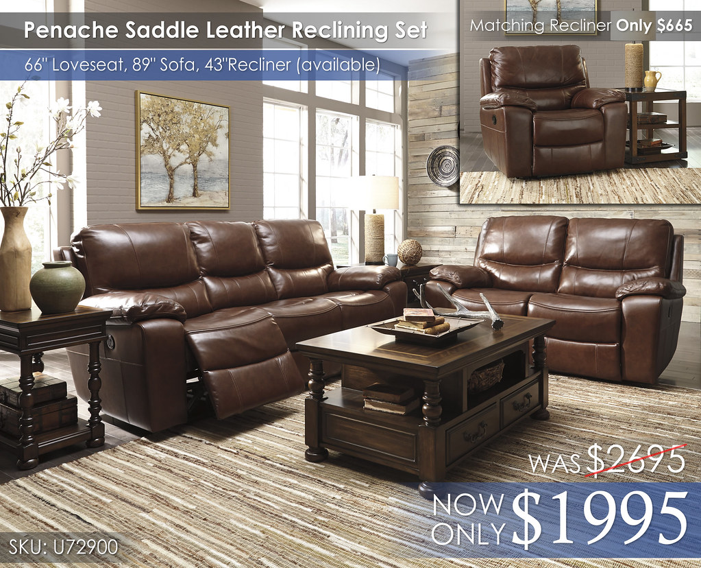 U72900 Penache Saddle Leather Reclining Sofa & Loveseat