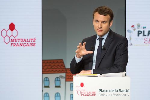 Emmanuel Macron, candidat du mouvement En Marche !, lors de la conférence PlacedelaSante.fr du 21 février 2017