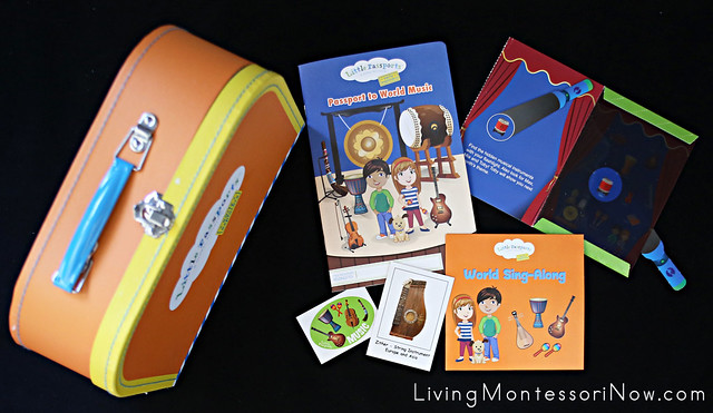 Contents of Little Passports Early Explorers Music Package Plus Suitcase from Package 1
