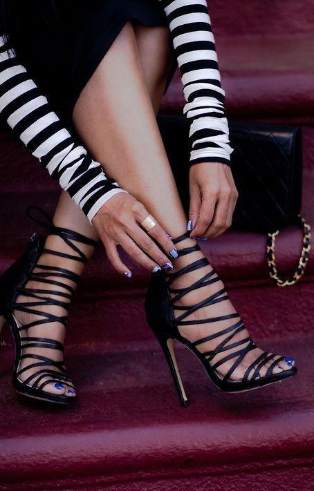 strappy high heels sandals