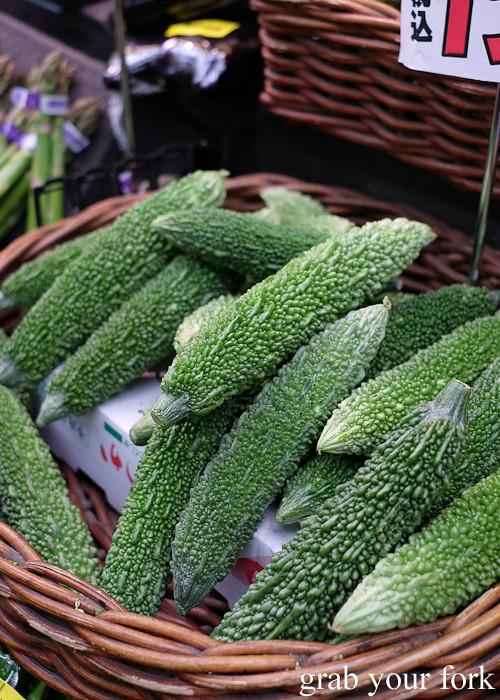 Bitter melon at Kuromon Ichiba Market in Osaka, Japan