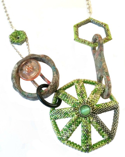 Mixed Links Trilogy Necklace No.3 of Glass Beading, Silver, Acrylic, Newspaper and Rubber - Dani Crompton Designs