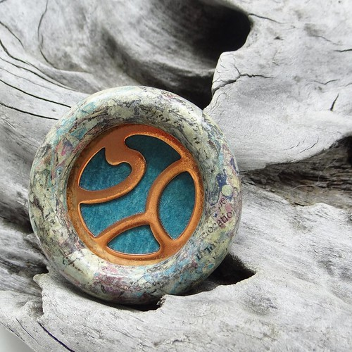 Circular Brooch in Paper, Copper and Wood - Dani Crompton Designs