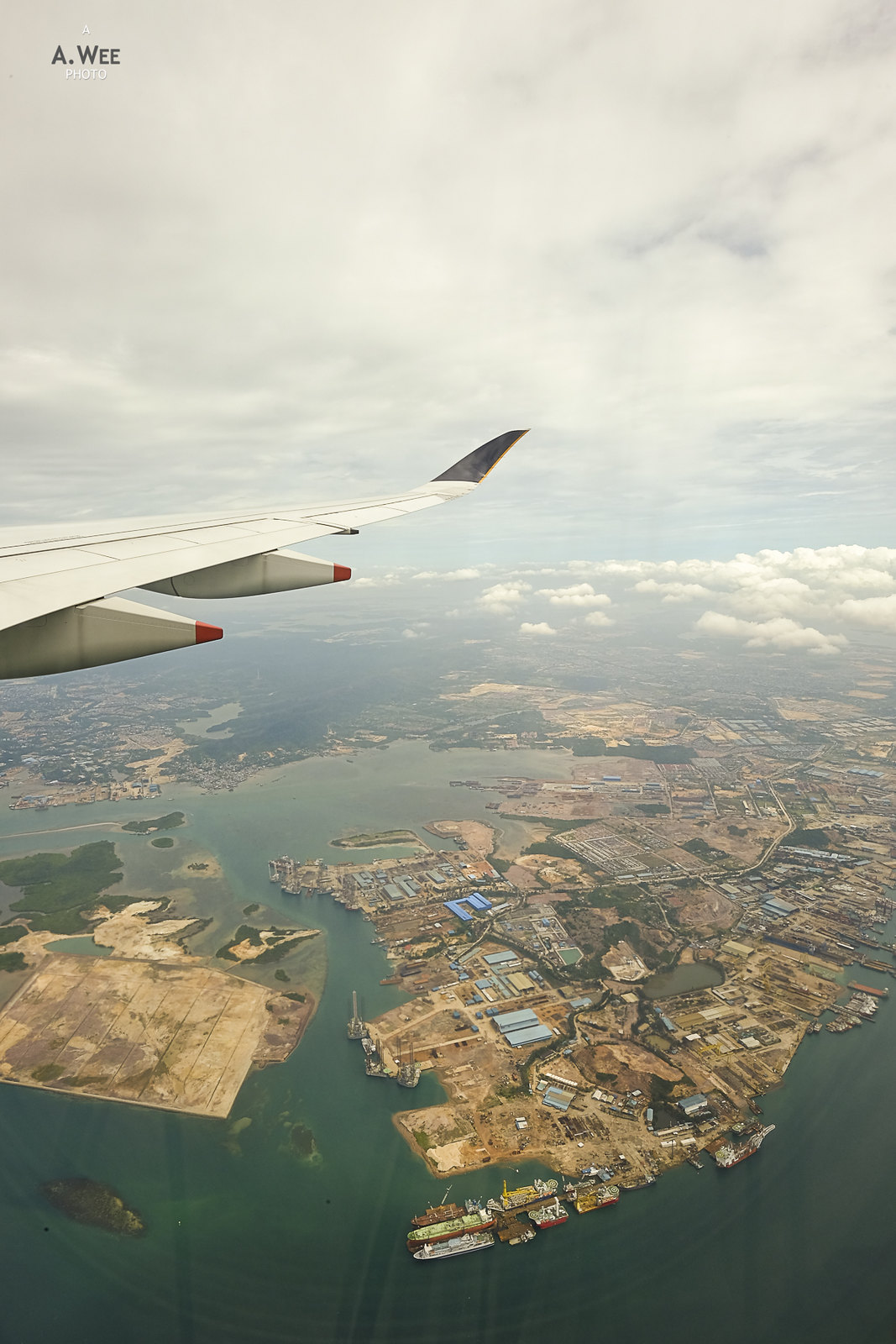 Flying past Batam