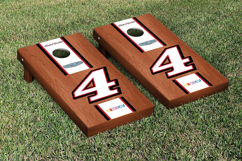 KEVIN HARVICK #4 CORNHOLE GAME SET ROSEWOOD STAINED WHITE STRIPE VERSION