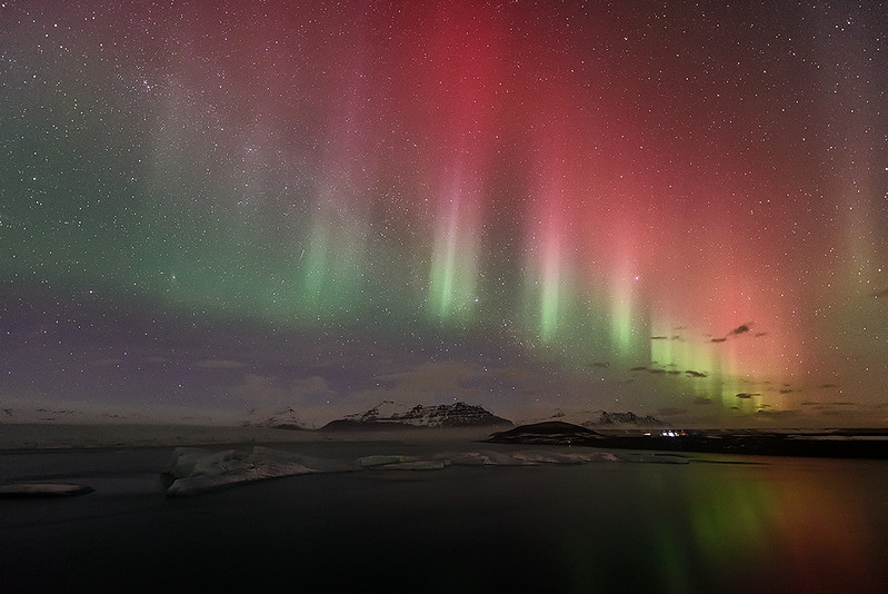 Northern lights over Jokulsarlon (Iceland)