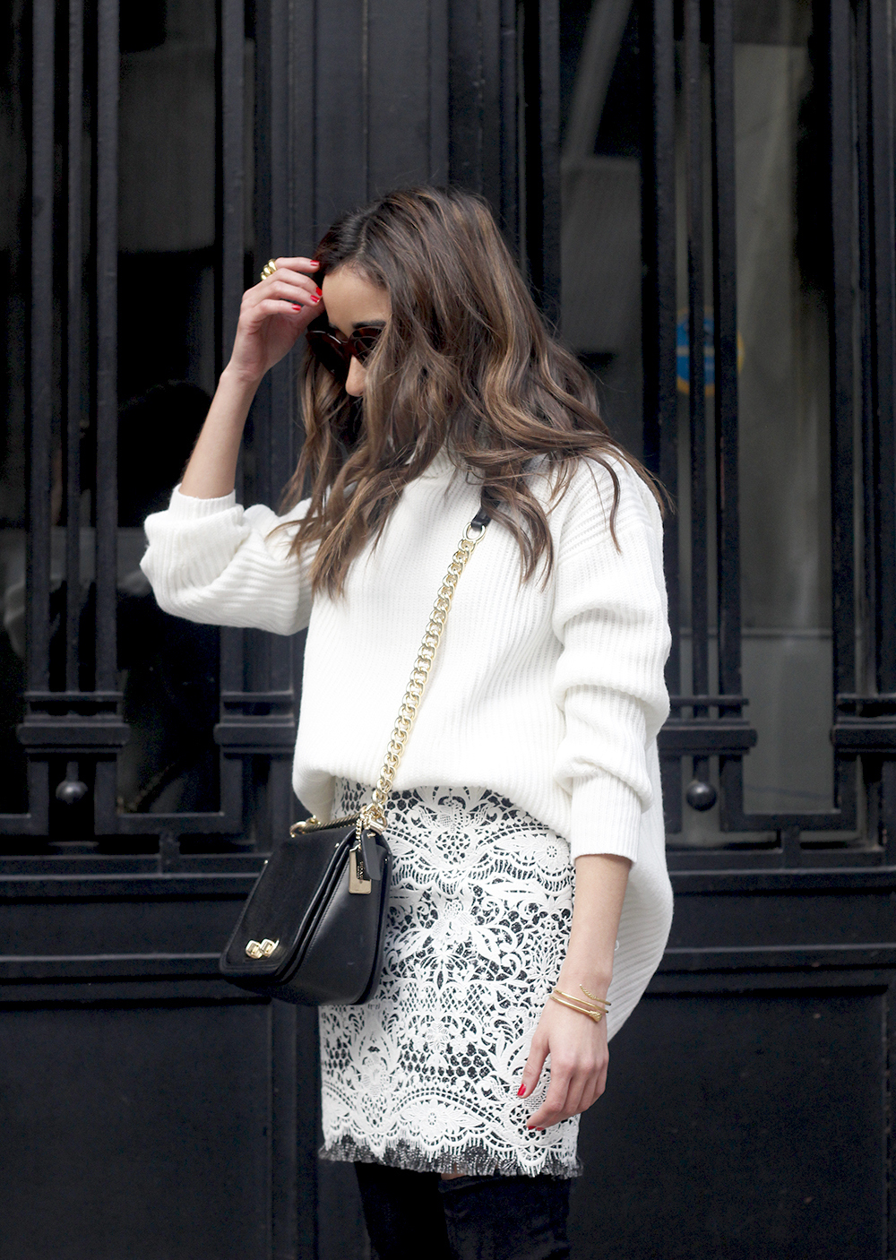 black and white lace skirt over the knee boots white turtleneck jersey outfit style winter07