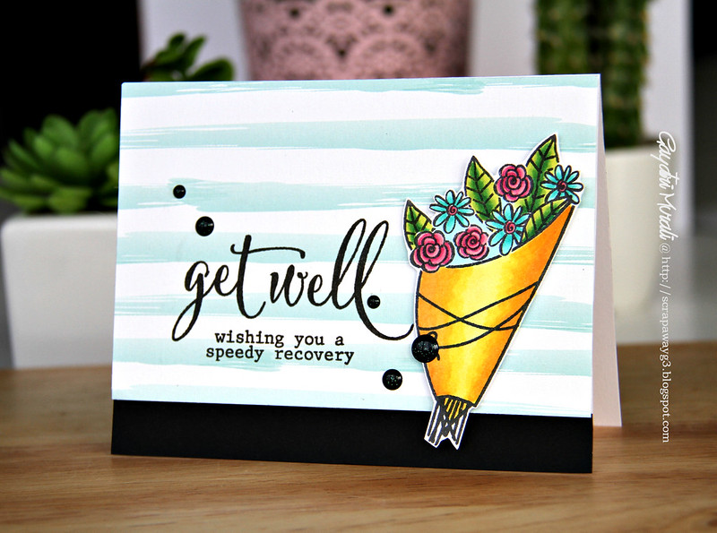 Get well yellow bouquet card