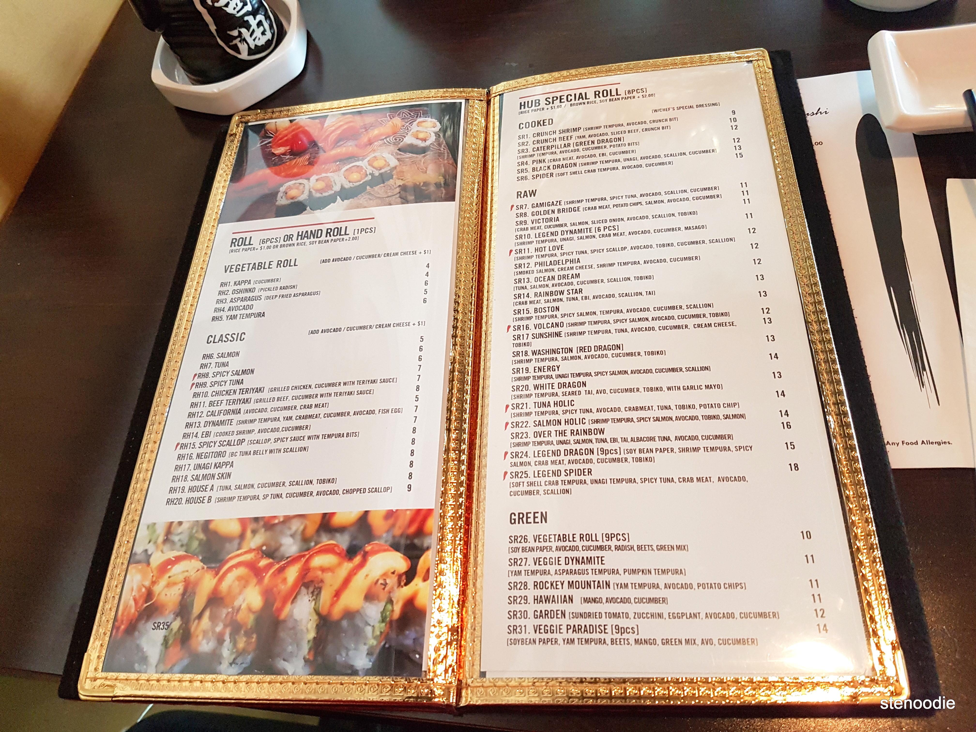 Hub Sushi Fusion Japanese Restaurant sushi dinner menu