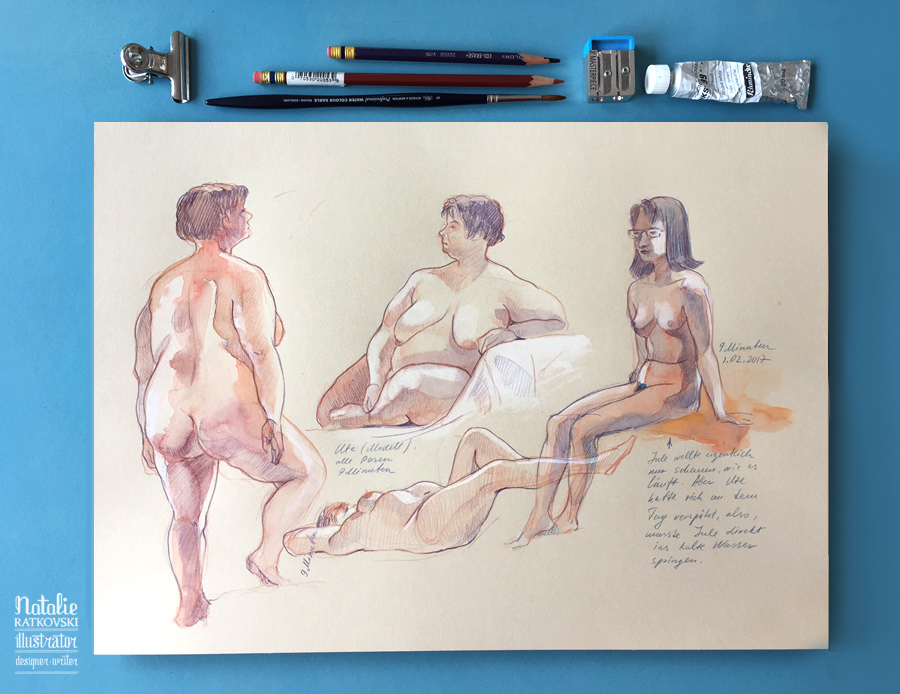 Nude drawing from life