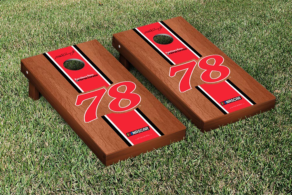 MARTIN TRUEX #78 CORNHOLE GAME SET ROSEWOOD STAINED STRIPE VERSION (1)