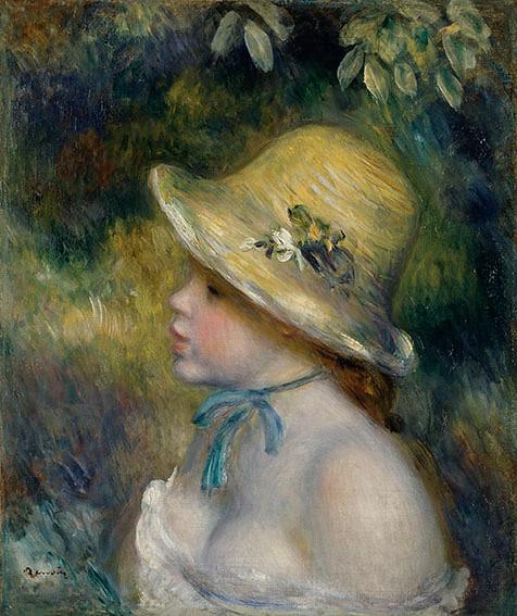 ルノワール《麦藁帽子の若い娘》(1888-89年、三菱一号館美術館寄託)