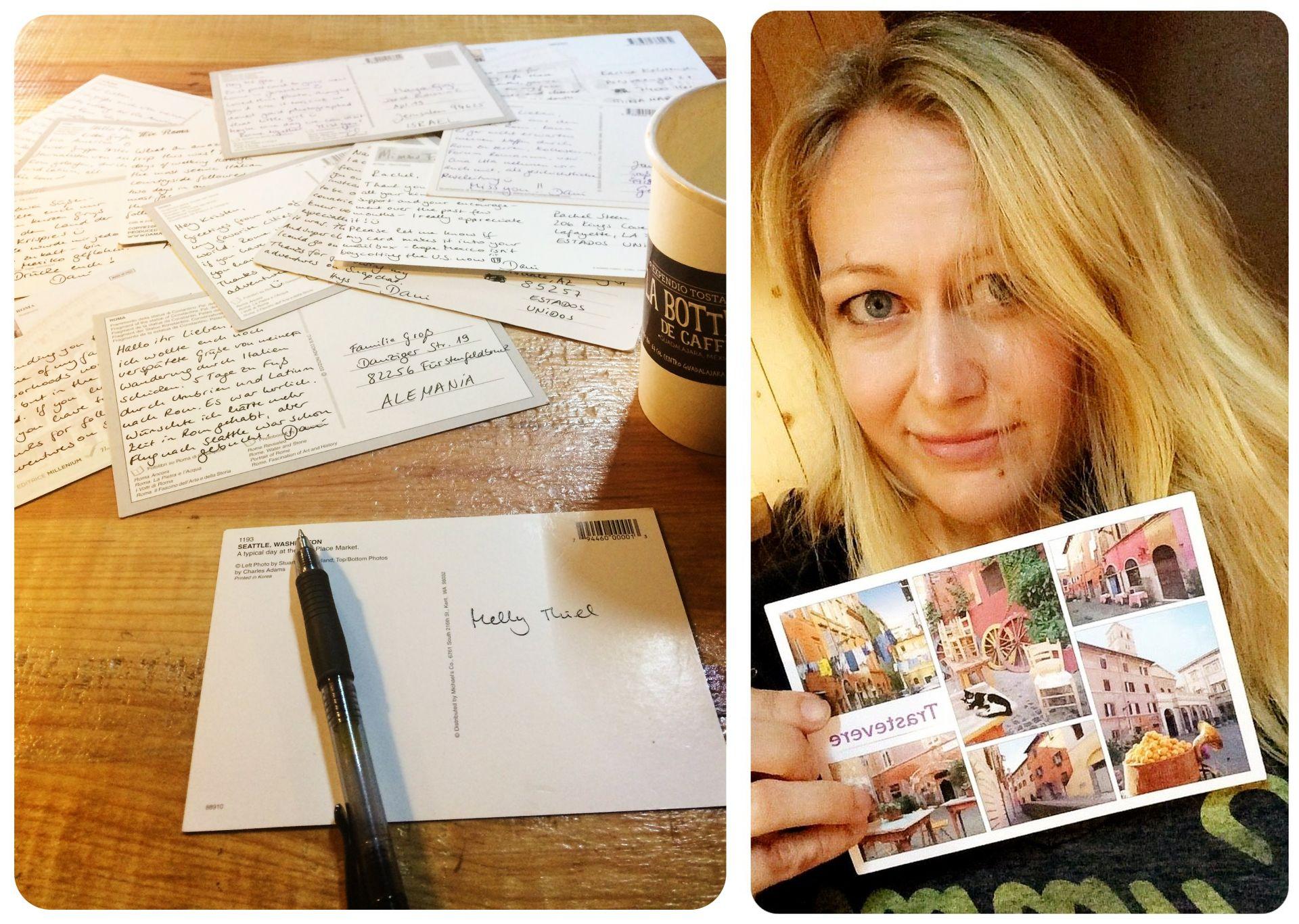 writing postcards