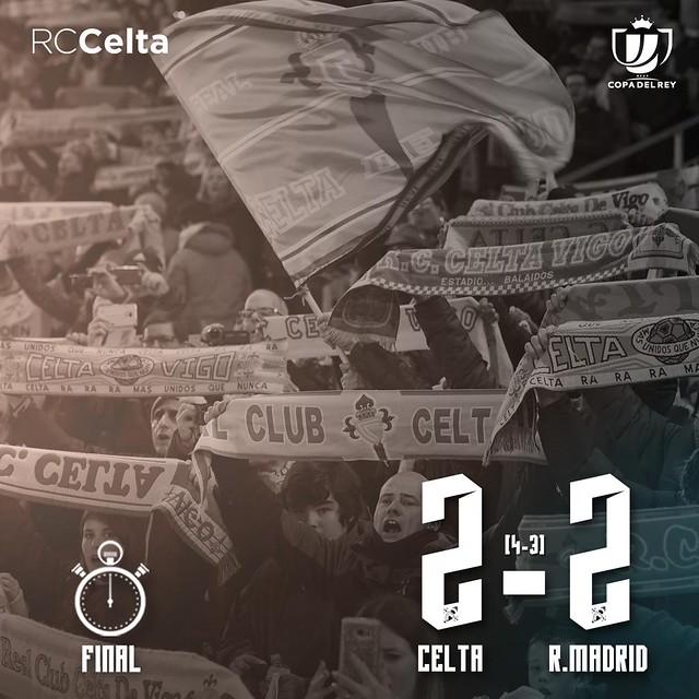 Copa del Rey - Cuartos de Final (Vuelta): Celta 2 - Real Madrid 2 (4-3)